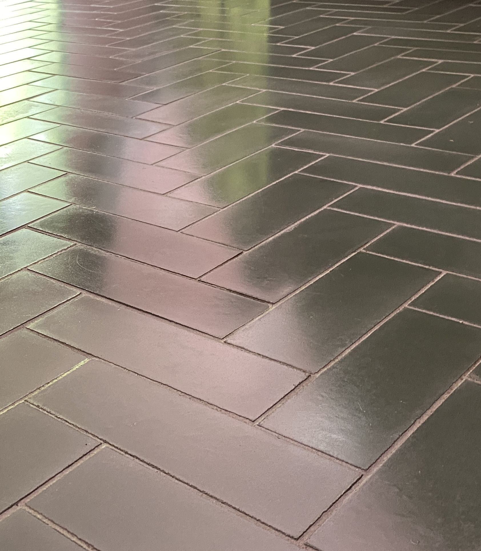 Encaustic tiles that have recently been cleaned by professional tile cleaning company