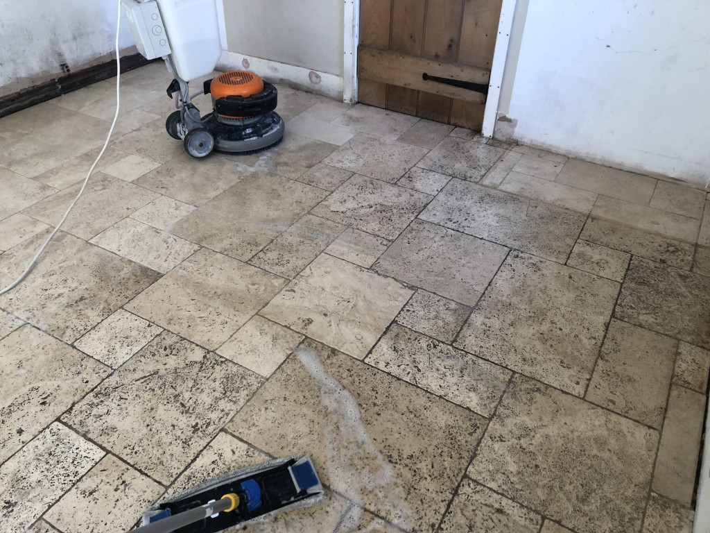 3a Removing dirt from travertine tiles in kitchen