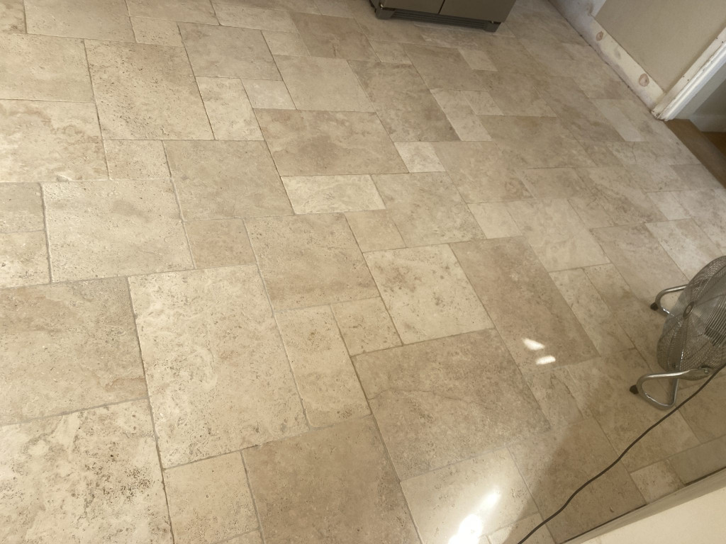 3b Removing dirt from travertine tiles in kitchen IMG_4430