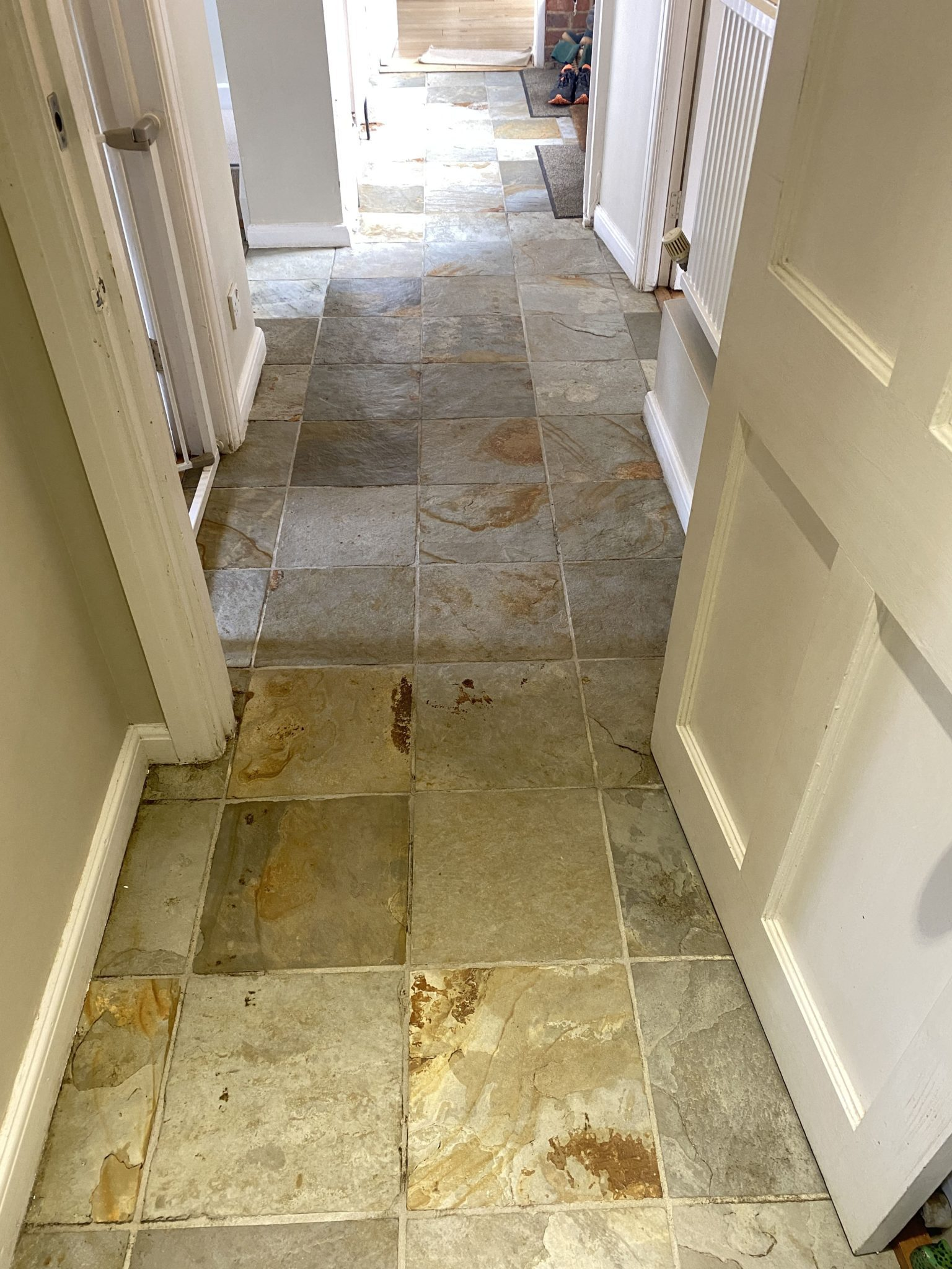 Slate tiles that have been professionally cleaned