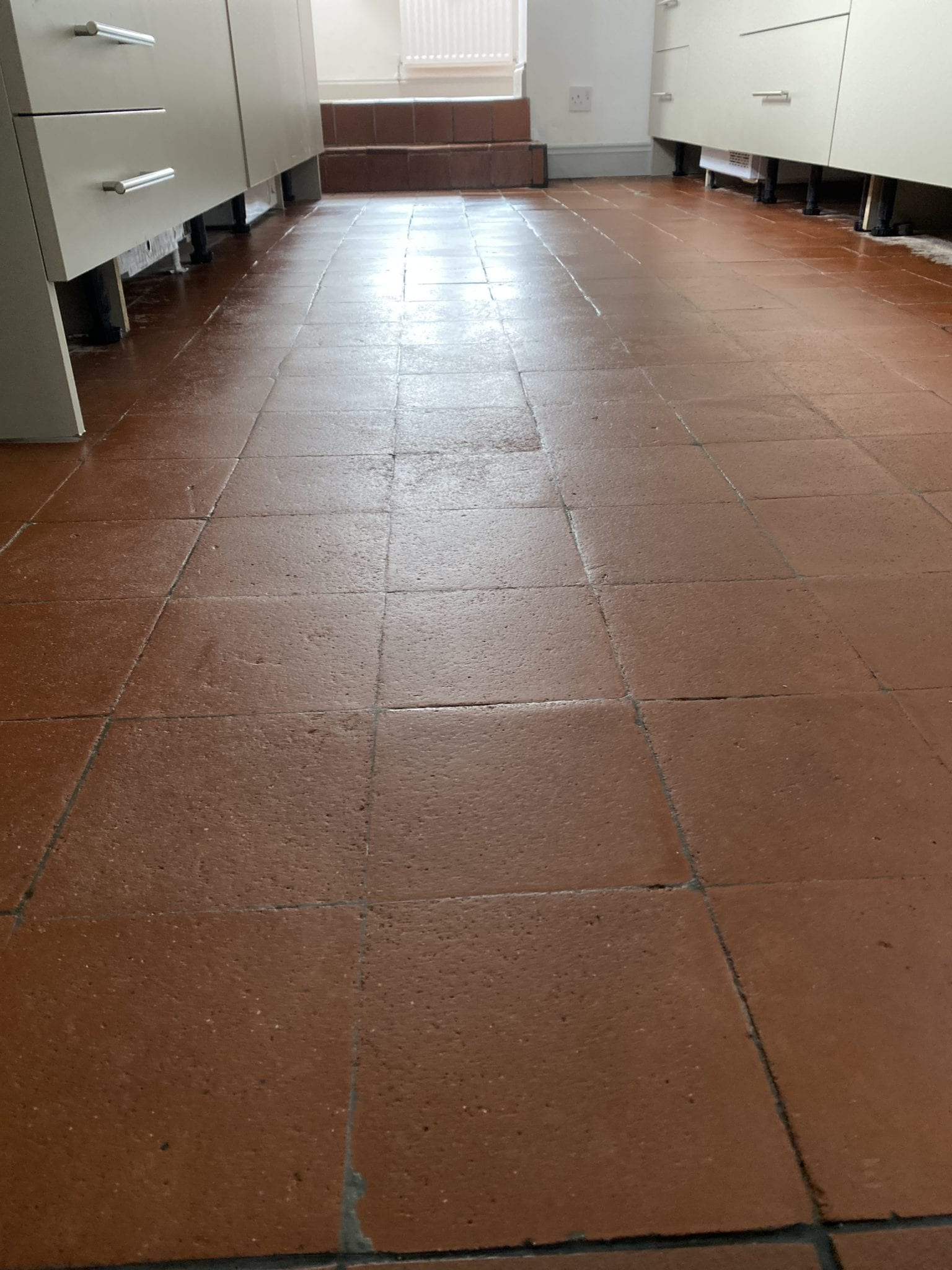 White paint removed from quarry tiles