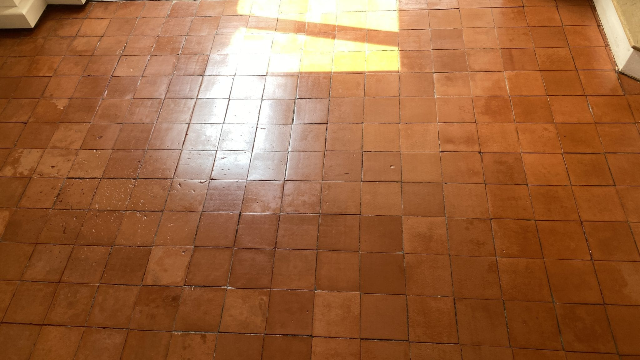 Quarry tile cleaning results after removing paint
