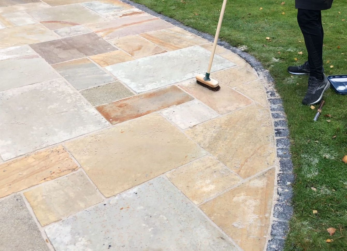 Sandstone after cleaning and filling with wide jointing compound