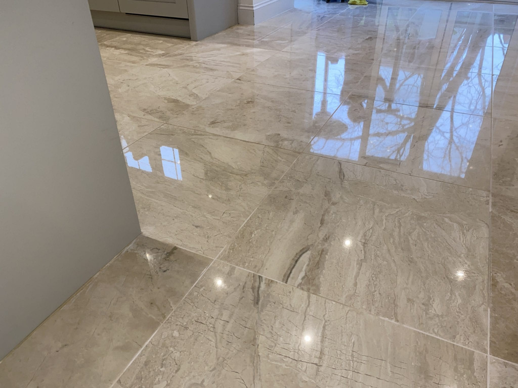 Acid spillage etch mark removed from marble floor